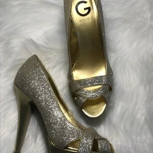 G by Guess Carlina Gold Glitter Peep Toe Pumps.
